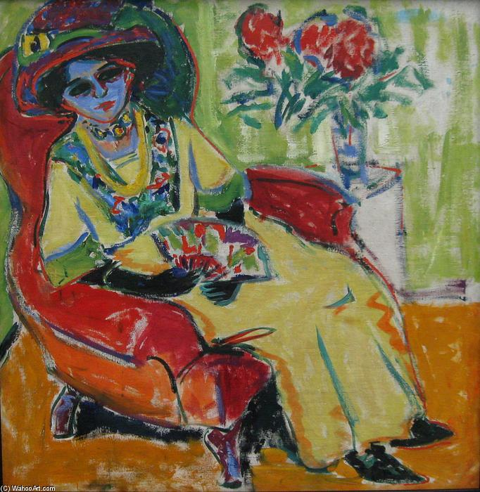 Seated Lady (Dodo), 1907 by Ernst Ludwig Kirchner (1880-1938, Germany) | WahooArt.com