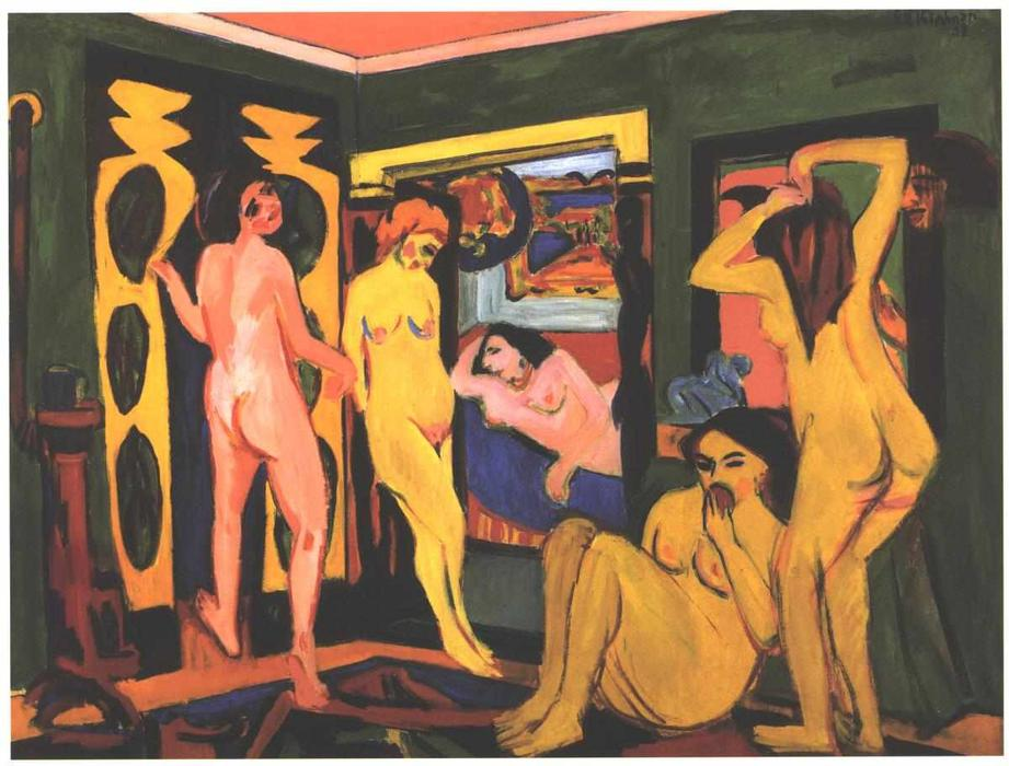 Bathing Women in a Room, Oil On Canvas by Ernst Ludwig Kirchner (1880-1938, Germany)