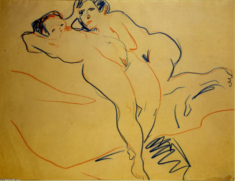 Couple, 1908 by Ernst Ludwig Kirchner (1880-1938, Germany)