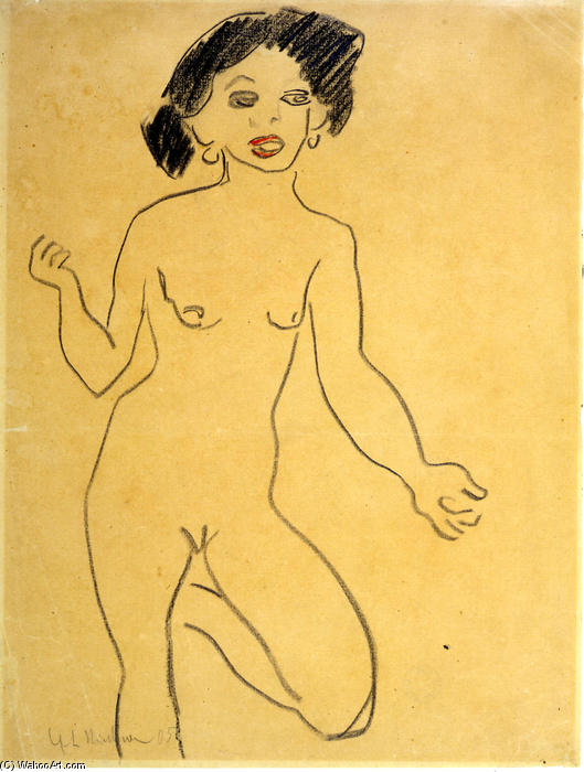 Milli, Chalk by Ernst Ludwig Kirchner (1880-1938, Germany)