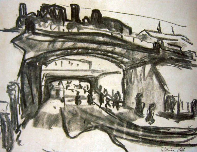 Two Railway Bridges in Dresden, 1909 by Ernst Ludwig Kirchner (1880-1938, Germany) | WahooArt.com