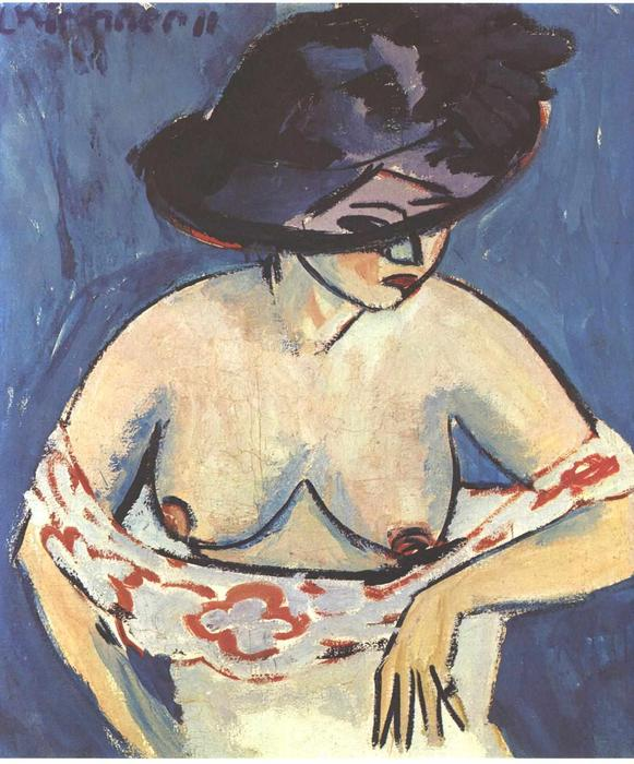 Half-Naked Woman with a Hat, 1911 by Ernst Ludwig Kirchner (1880-1938, Germany) | Museum Quality Reproductions | WahooArt.com