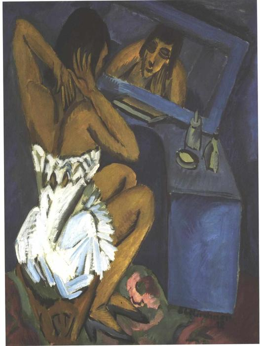 Woman before the Mirror, Oil On Canvas by Ernst Ludwig Kirchner (1880-1938, Germany)