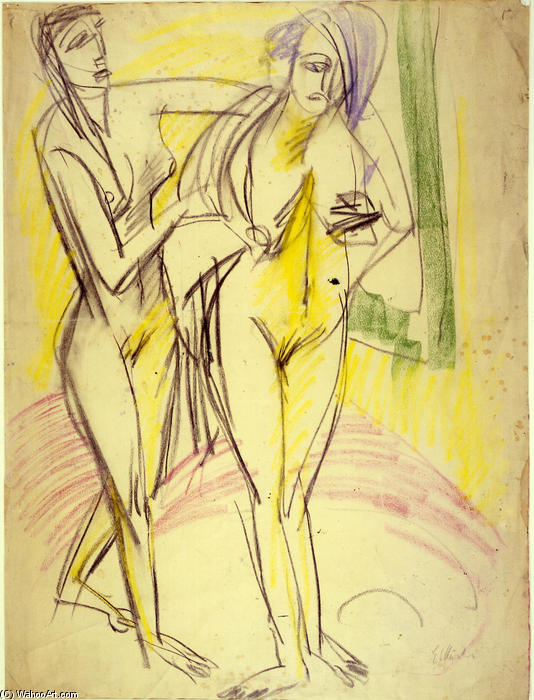 After the Bath, 1914 by Ernst Ludwig Kirchner (1880-1938, Germany) | Famous Paintings Reproductions | WahooArt.com