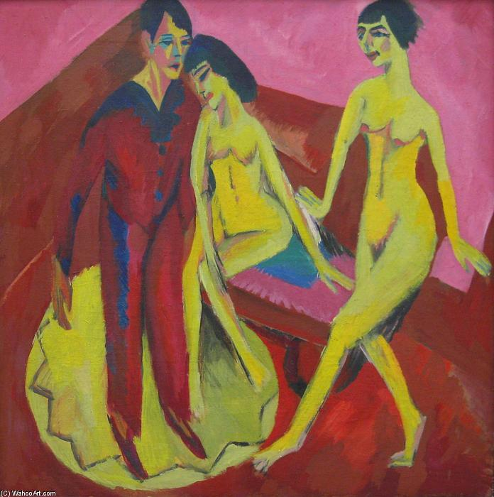 Dance School, 1914 by Ernst Ludwig Kirchner (1880-1938, Germany) | WahooArt.com