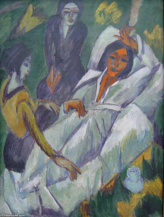 Woman at Tea Time: Sick Woman, Oil On Canvas by Ernst Ludwig Kirchner (1880-1938, Germany)