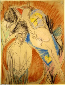 Order Paintings Reproductions | Man and Naked Woman, 1915 by Ernst Ludwig Kirchner (1880-1938, Germany) | WahooArt.com