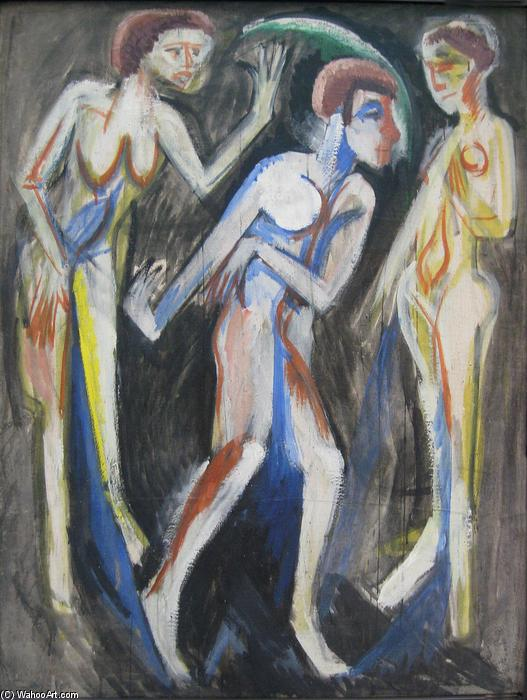 The Dance between the Women, 1915 by Ernst Ludwig Kirchner (1880-1938, Germany) | WahooArt.com