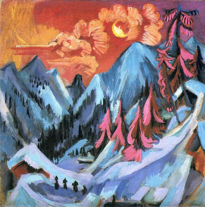 Winter Landscape in Moonlight, 1919 by Ernst Ludwig Kirchner (1880-1938, Germany) | Museum Art Reproductions Ernst Ludwig Kirchner | WahooArt.com