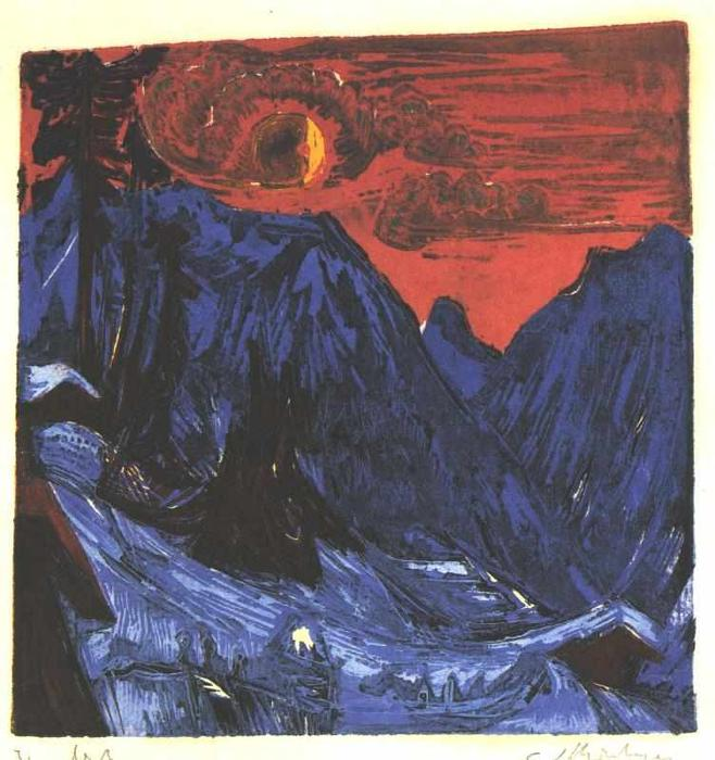 Winter Moon Night, 1919 by Ernst Ludwig Kirchner (1880-1938, Germany)