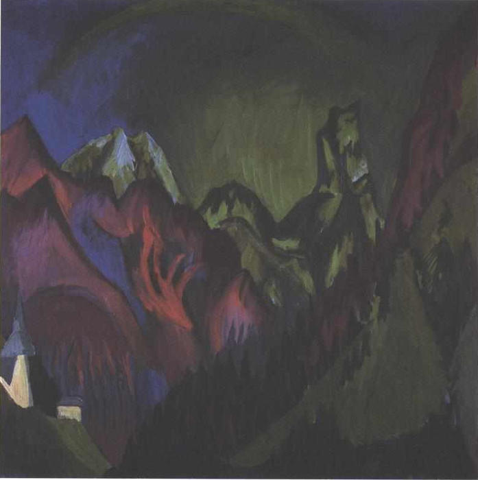 Trains Gorge near Monstein, 1920 by Ernst Ludwig Kirchner (1880-1938, Germany) | WahooArt.com