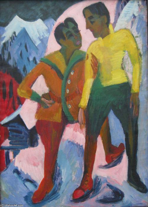Two Brothers, 1921 by Ernst Ludwig Kirchner (1880-1938, Germany) | WahooArt.com