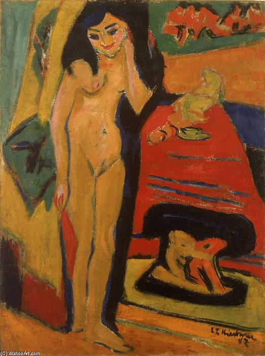Naked girl Behind the Curtain (Franzi), 1926 by Ernst Ludwig Kirchner (1880-1938, Germany)