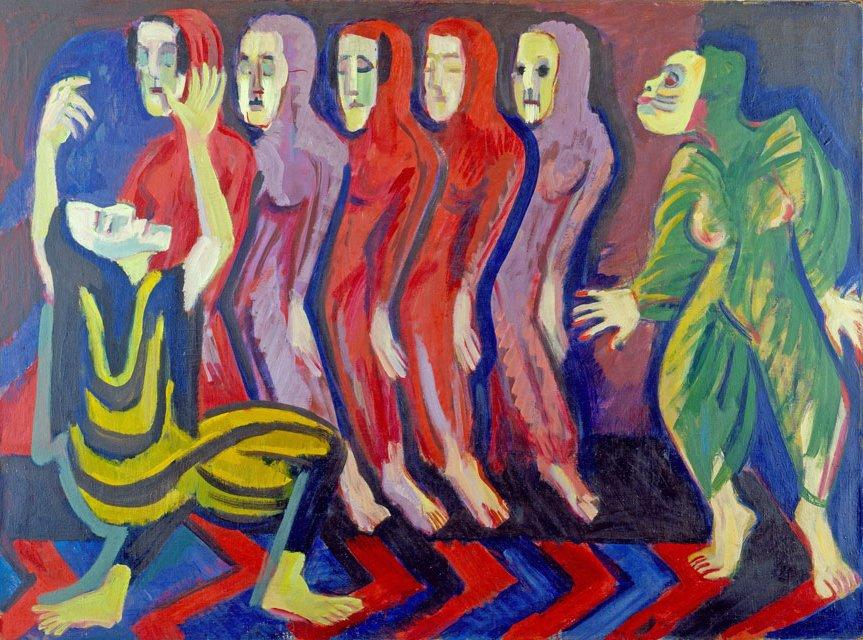 Mary Wigman's Dance of the Dead, 1928 by Ernst Ludwig Kirchner (1880-1938, Germany)