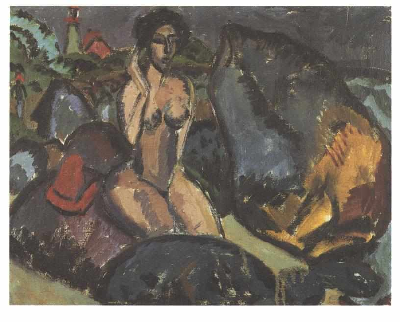 Bathing Woman between Rocks by Ernst Ludwig Kirchner (1880-1938, Germany) | WahooArt.com