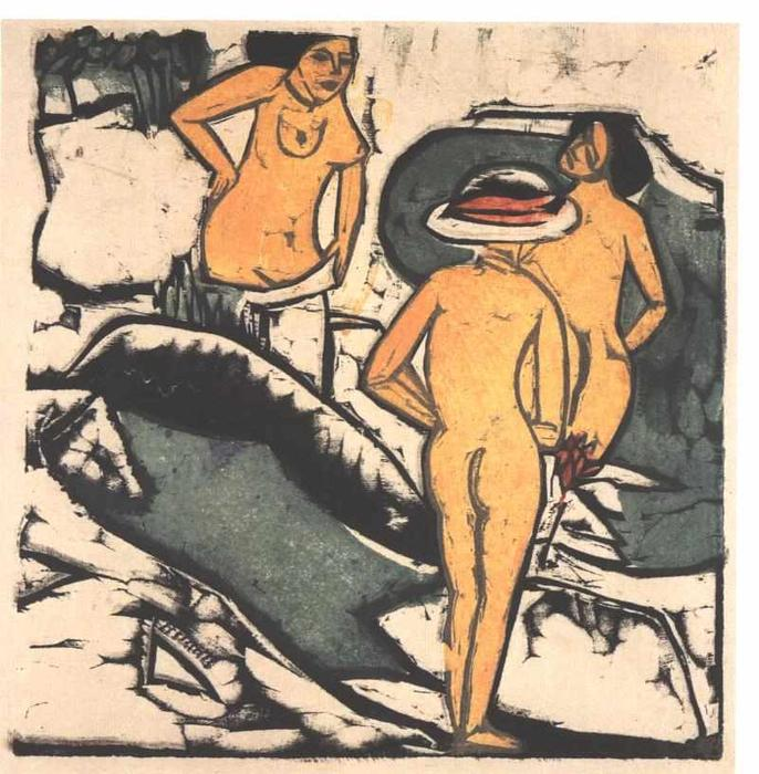 Order Museum Quality Reproductions : Bathing Women between White Rocks by Ernst Ludwig Kirchner (1880-1938, Germany) | WahooArt.com