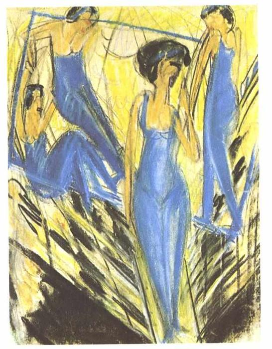 Blue Dressed Artists by Ernst Ludwig Kirchner (1880-1938, Germany)
