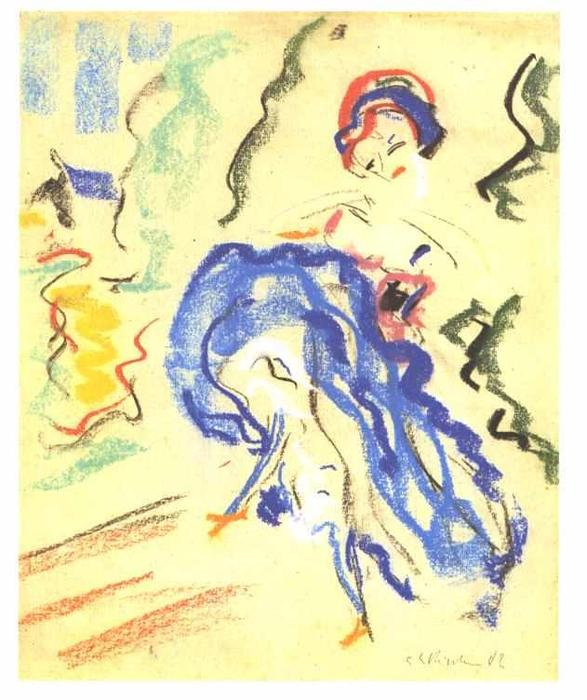 Dancer in a Blue Skirt by Ernst Ludwig Kirchner (1880-1938, Germany)