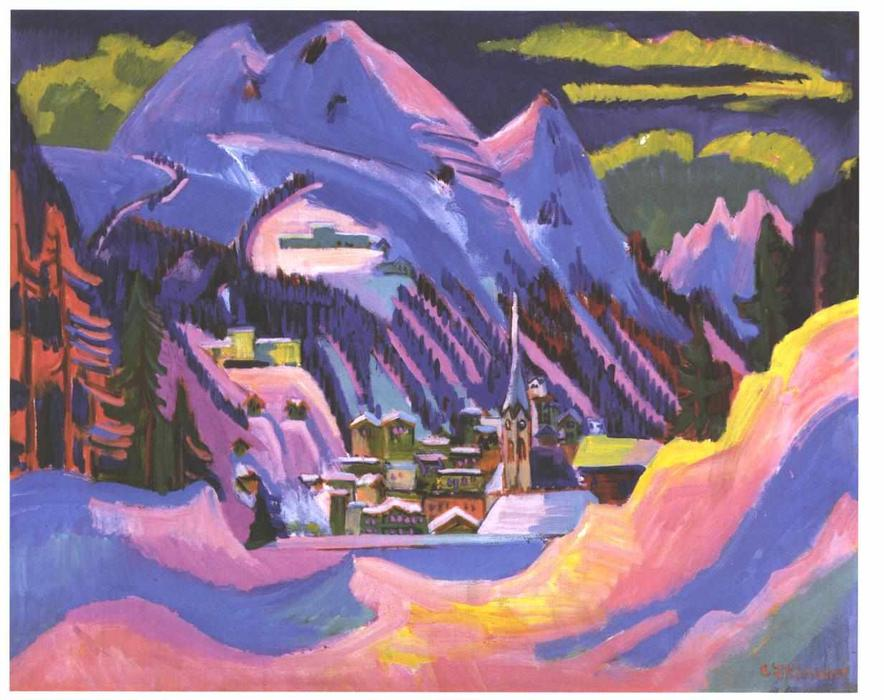 Davos in Snow by Ernst Ludwig Kirchner (1880-1938, Germany)