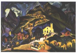 Ernst Ludwig Kirchner - Farmers Driving Cattle to a Alpine Pasture