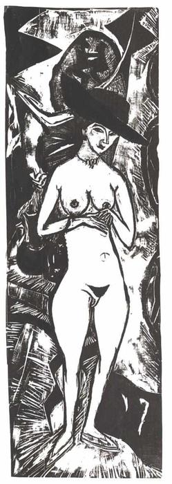Female Nude with Black Hat by Ernst Ludwig Kirchner (1880-1938, Germany)