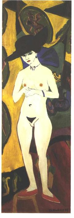 Female Nude with Black Hat by Ernst Ludwig Kirchner (1880-1938, Germany) | WahooArt.com