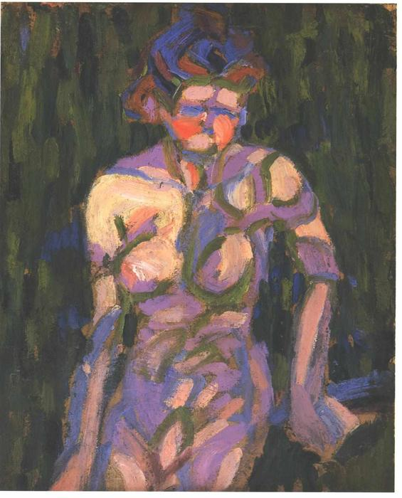Female Nude with Shadow of a Twig by Ernst Ludwig Kirchner (1880-1938, Germany) | WahooArt.com