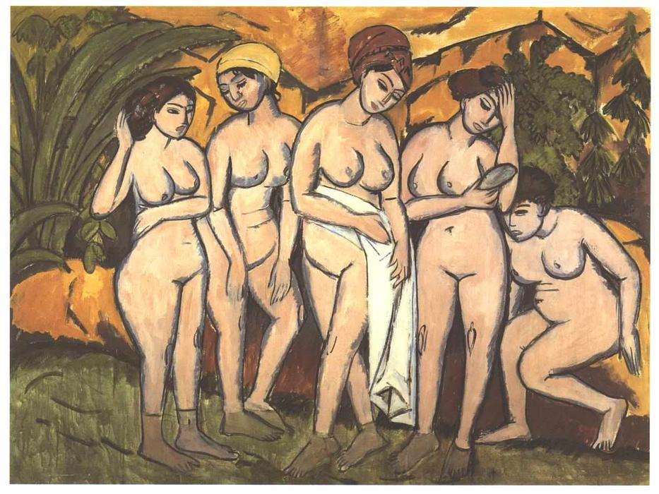 Five Bathing Women at a Lake, Oil On Canvas by Ernst Ludwig Kirchner (1880-1938, Germany)