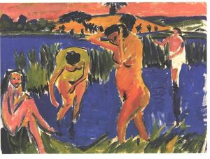 Ernst Ludwig Kirchner - Four Bathers