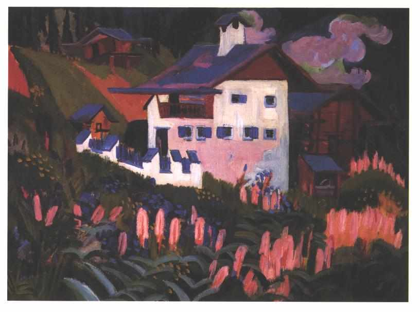 House in the Meadows by Ernst Ludwig Kirchner (1880-1938, Germany)