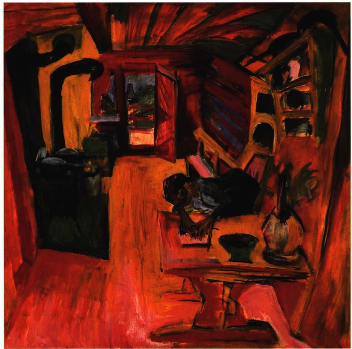 Kitchen in an Alpine Hut by Ernst Ludwig Kirchner (1880-1938, Germany) | Oil Painting | WahooArt.com