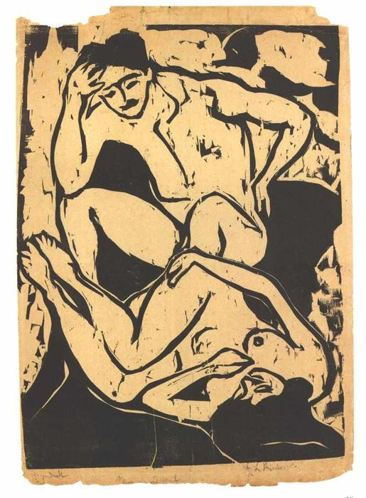 Nacked Couple on a Couch by Ernst Ludwig Kirchner (1880-1938, Germany)