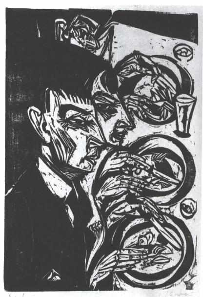 Nervous People Eating by Ernst Ludwig Kirchner (1880-1938, Germany)