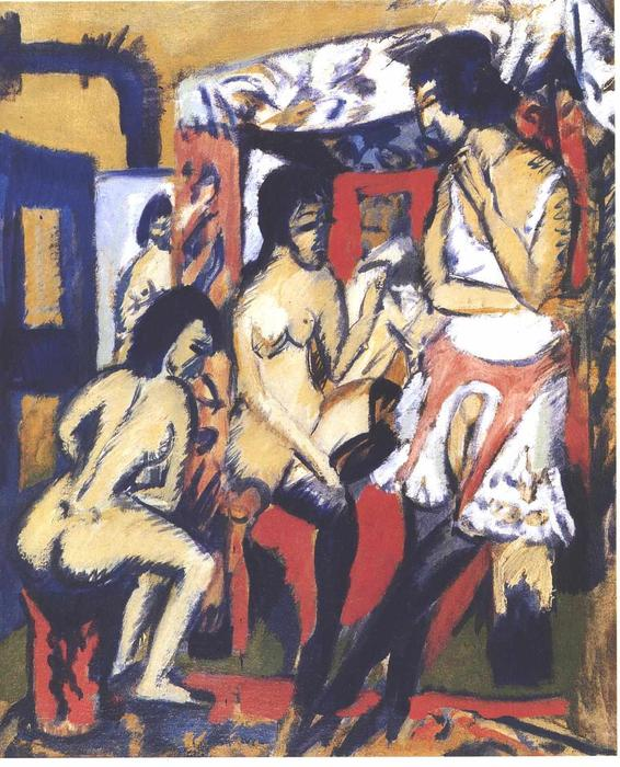 Nudes in Atelier by Ernst Ludwig Kirchner (1880-1938, Germany)