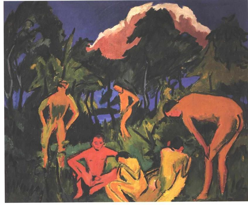 Nudes in the Sun by Ernst Ludwig Kirchner (1880-1938, Germany) | Famous Paintings Reproductions | WahooArt.com