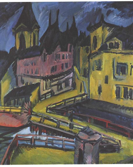 Pfortensteg in Chemnitz by Ernst Ludwig Kirchner (1880-1938, Germany)