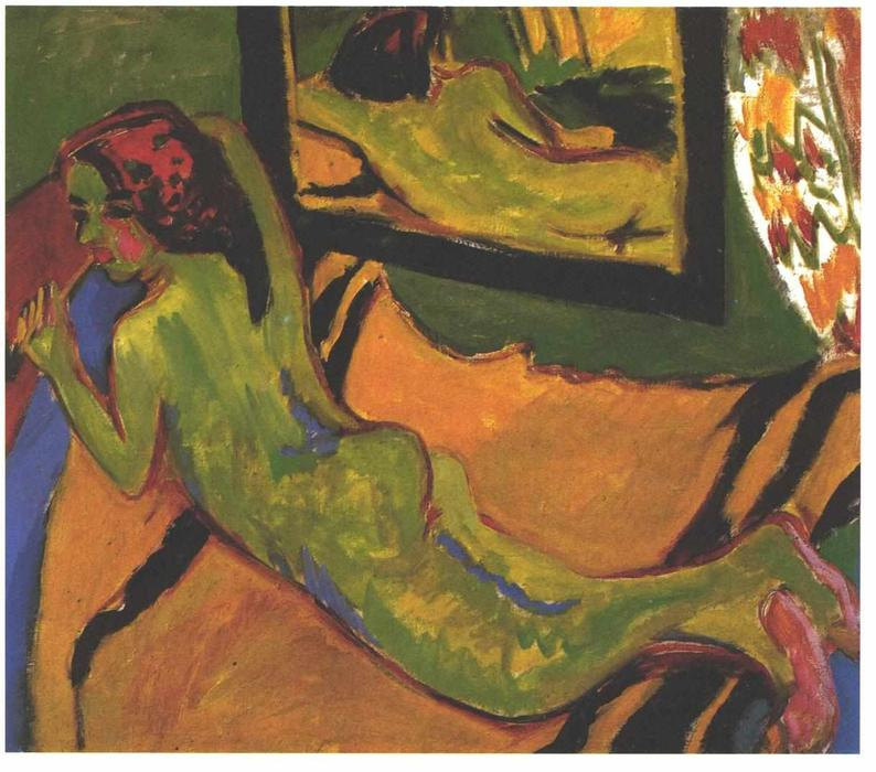 Reclining Female Nude in Front of a Mirror by Ernst Ludwig Kirchner (1880-1938, Germany)