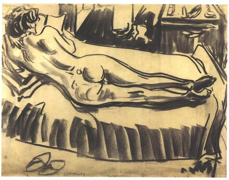 Reclining Female Nude on a Couch by Ernst Ludwig Kirchner (1880-1938, Germany) | Famous Paintings Reproductions | WahooArt.com