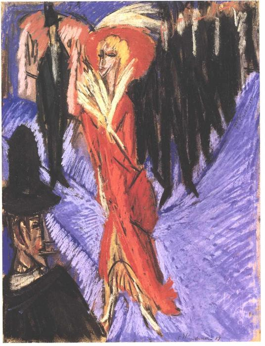 Red Cocotte by Ernst Ludwig Kirchner (1880-1938, Germany)