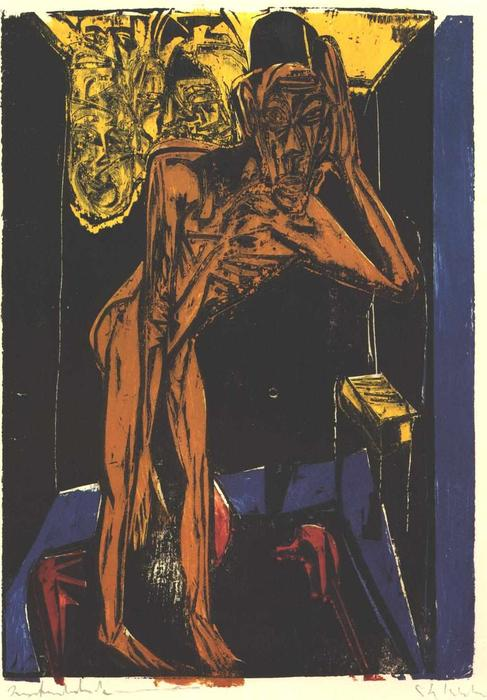 Schlemihls in the Loneliness of the Room by Ernst Ludwig Kirchner (1880-1938, Germany) | WahooArt.com