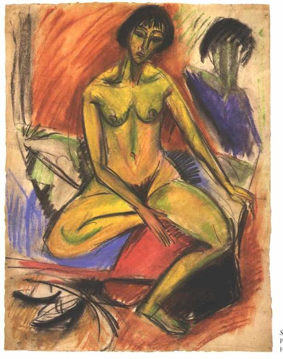 Seated Female Nude by Ernst Ludwig Kirchner (1880-1938, Germany) | Museum Quality Reproductions | WahooArt.com