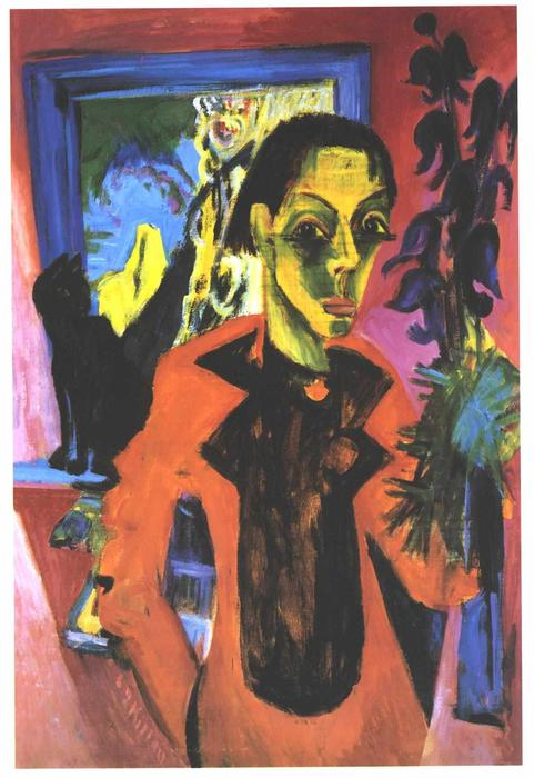 Self-portrait with Shadow by Ernst Ludwig Kirchner (1880-1938, Germany)