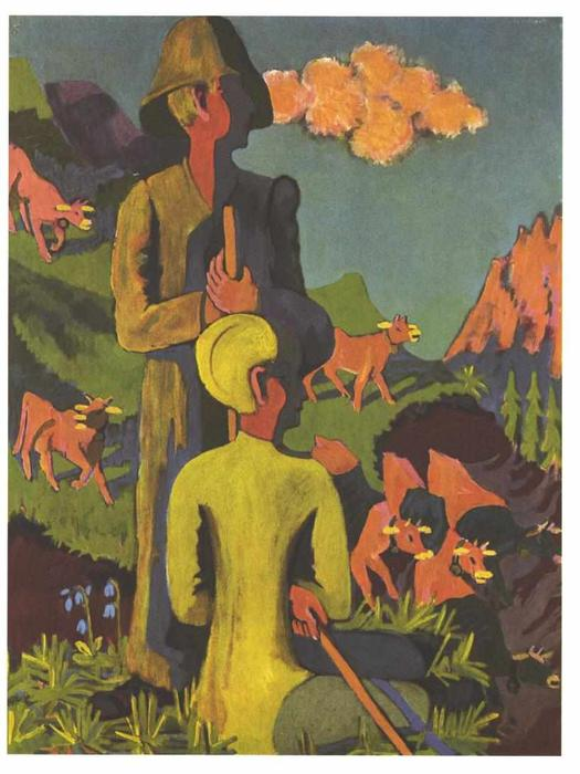 Shepherd in the evening by Ernst Ludwig Kirchner (1880-1938, Germany) | WahooArt.com