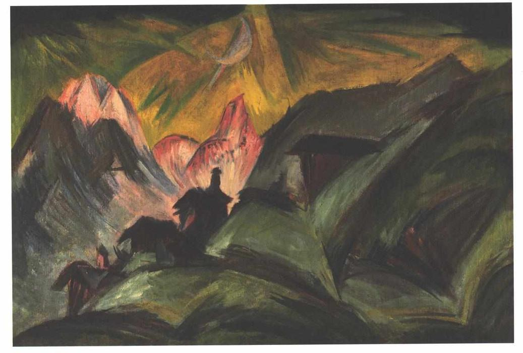 Stafelalp at Moon Light by Ernst Ludwig Kirchner (1880-1938, Germany) | WahooArt.com