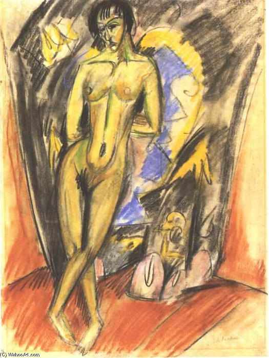 Standing Female Nude in Frot of a Tent by Ernst Ludwig Kirchner (1880-1938, Germany) | WahooArt.com