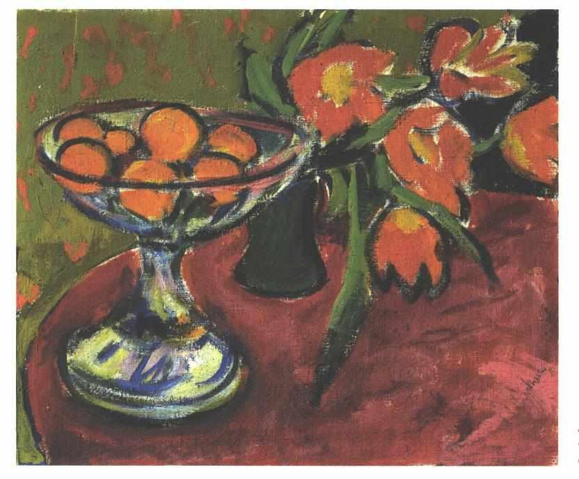 Still Live with Tulips and Oranges by Ernst Ludwig Kirchner (1880-1938, Germany) | Oil Painting | WahooArt.com