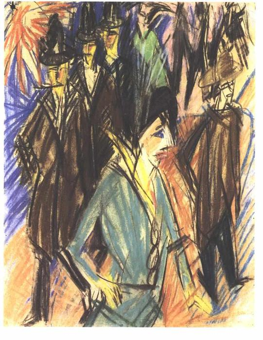 Street Scene with Green Cocotte by Ernst Ludwig Kirchner (1880-1938, Germany)