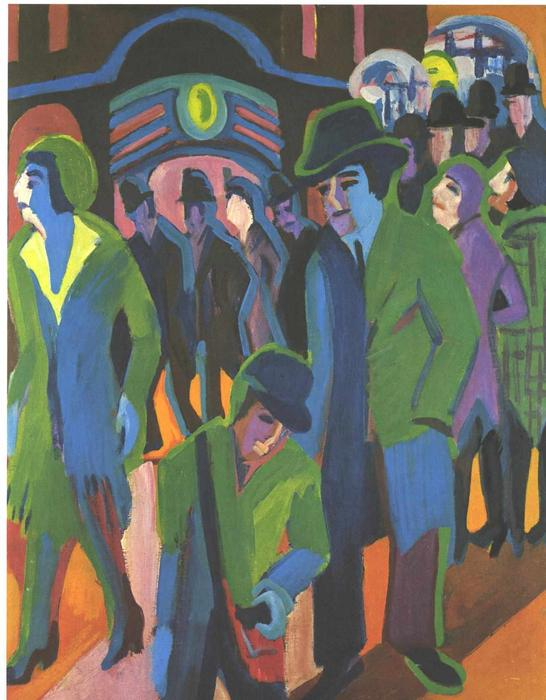 Street with Passangers by Ernst Ludwig Kirchner (1880-1938, Germany)
