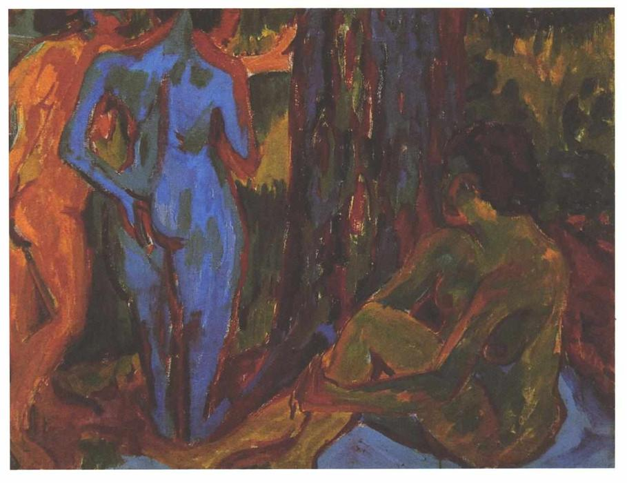 Three Nudes by Ernst Ludwig Kirchner (1880-1938, Germany) | Museum Quality Reproductions | WahooArt.com