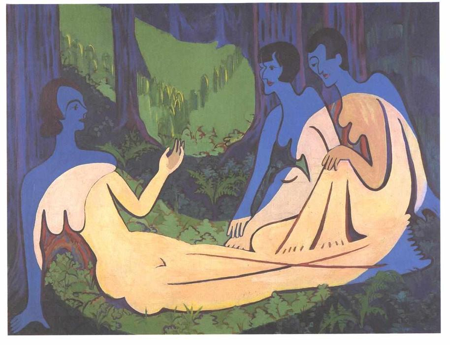 Three Nudes in the Forest by Ernst Ludwig Kirchner (1880-1938, Germany)